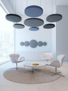 Wand- und Deckenabsorber verbessern die Akustik im Büro und sind Teil unserer Akustikplanung. © Hush