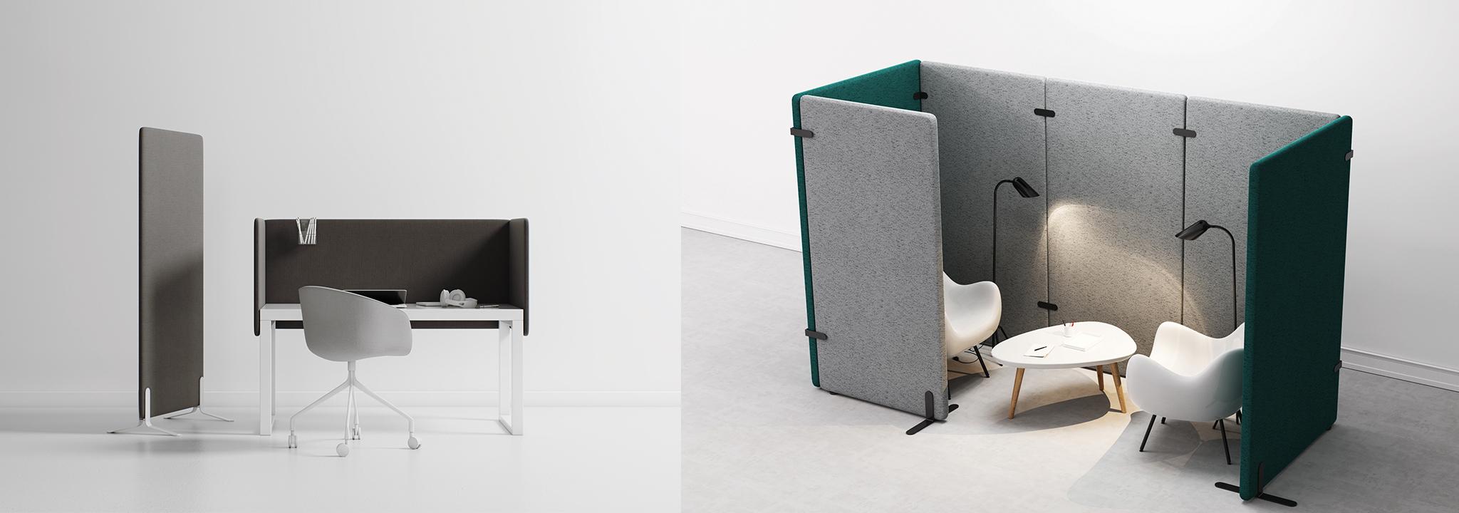 Büros gestalten mit akustisch wirksamen Raumteilern und Trennwänden sowie Raum-in-Raum-Lösungen.