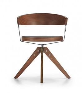 Der moderne Holzdrehstuhl G 125 wird aus Kirsch- oder Nussbaum gefertigt, ist mit gepolstertem Sitz oder Netzsitz in vielen Farben (und Materialien) sowie mit Fünffußstern verfügbar.