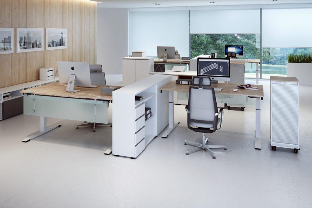 ergonomisches Büro mit höhenverstellbaren 160x80 Schreibtisch