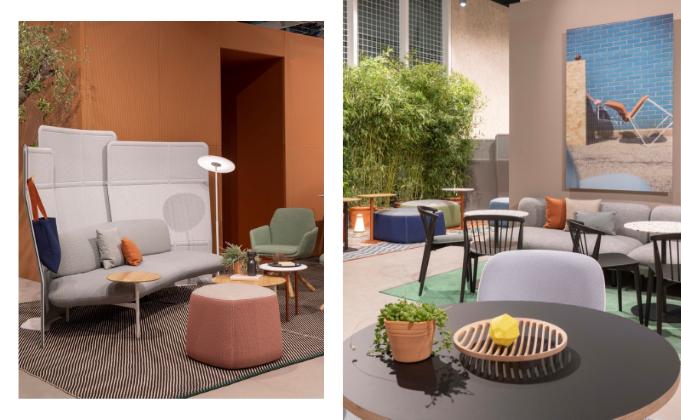 Kommunikation und Regeneration: Sofas in Kombination mit Raumtrennungselementen und Cafétische fördern lockeren Austausch in Unternehmen © Haworth