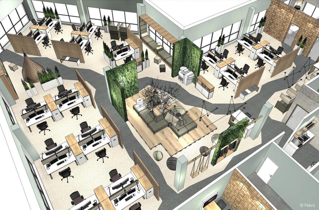 Die Planungszeichnung von Febrü zeigt eine offen gestaltete Bürofläche, die Raum für Konzentration, Kommunikation und Regenration bietet.