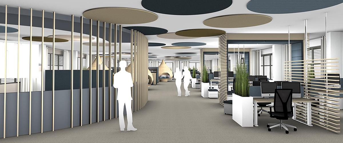 Flächenplanung: Offenes Büro mit Akustik